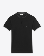 SAINT LAURENT Polos U SHORT SLEEVE BAND COLLAR POLO IN BLACK PIQUÉ COTTON and Leather f