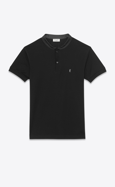 SAINT LAURENT Polos U SHORT SLEEVE BAND COLLAR POLO IN BLACK PIQUÉ COTTON and Leather a_V4