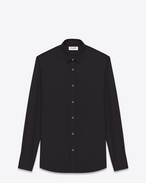 SAINT LAURENT Classic Shirts U SIGNATURE YVES COLLAR SHIRT IN Black Cotton Poplin f