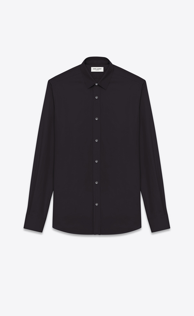 SAINT LAURENT Classic Shirts U SIGNATURE YVES COLLAR SHIRT IN Black Cotton Poplin a_V4