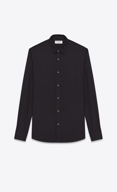 SAINT LAURENT Classic Shirts U SIGNATURE YVES COLLAR SHIRT IN Black Cotton Poplin v4