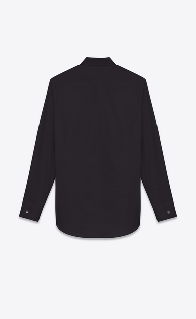 SAINT LAURENT Classic Shirts U SIGNATURE YVES COLLAR SHIRT IN Black Cotton Poplin b_V4