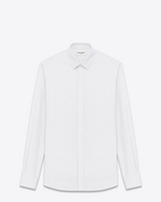 SAINT LAURENT Classic Shirts U SIGNATURE YVES COLLAR SHIRT IN White Cotton Poplin f
