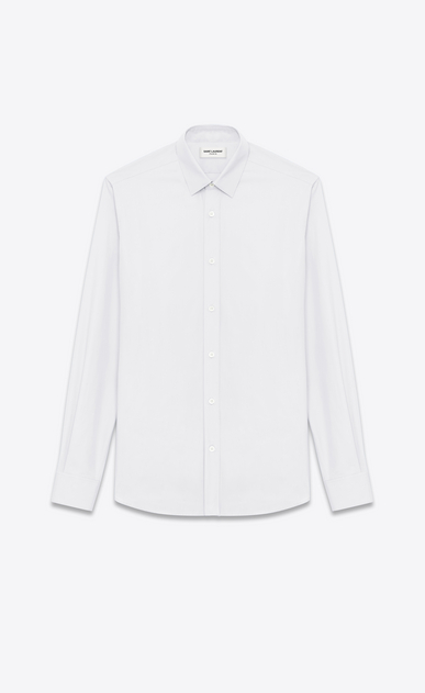 SAINT LAURENT Classic Shirts U SIGNATURE YVES COLLAR SHIRT IN White Cotton Poplin a_V4