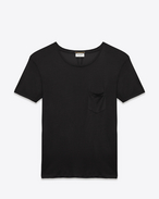 SAINT LAURENT T-Shirt and Jersey U Classic Short Sleeve Pocket T Shirt in Black Silk Jersey f