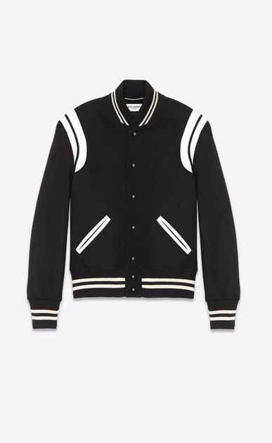SAINT LAURENT Casual Jacken U Teddy Jacket aus schwarzer Wolle  a_V4