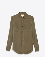 SAINT LAURENT Western Shirts D CLASSIC WESTERN SHIRT IN Khaki Twill f