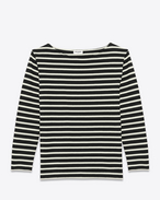 SAINT LAURENT T-Shirt and Jersey U CLASSIC MARINIÈRE Long sleeve Top IN Black and IVORY Striped Cotton Jersey f