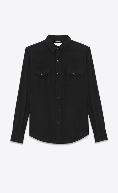 SAINT LAURENT Western Shirts U CLASSIC WESTERN SHIRT IN Black Twill a_V4