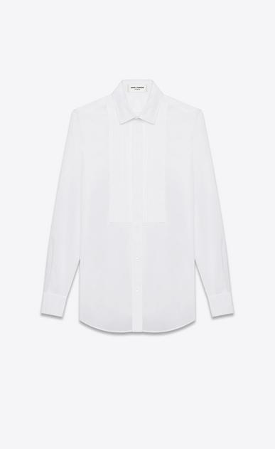 SAINT LAURENT Classic Shirts D classic evening shirt in white cotton poplin a_V4