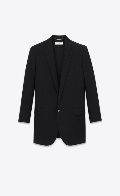 SAINT LAURENT Blazer Jacket Woman single-breasted long tube jacket in black virgin wool a_V4
