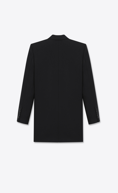 SAINT LAURENT Blazer Jacket Woman single-breasted long tube jacket in black virgin wool b_V4