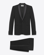 SAINT LAURENT Suits U ICONIC LE SMOKING SUIT IN BLACK GRAIN DE POUDRE TEXTURED VIRGIN WOOL f