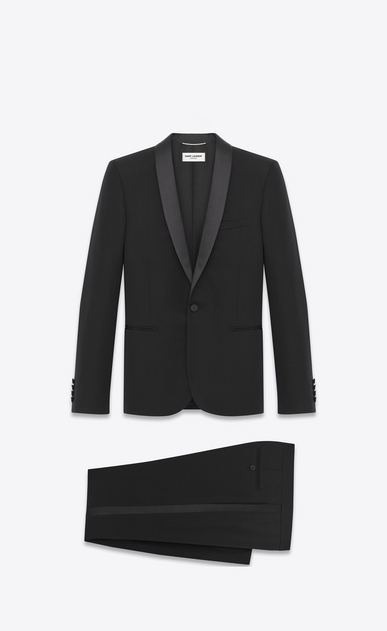 SAINT LAURENT Suits Man iconic le smoking suit in black textured virgin wool a_V4