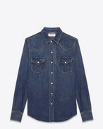 CLASSIC WESTERN SHIRT IN Vintage Blue Cotton