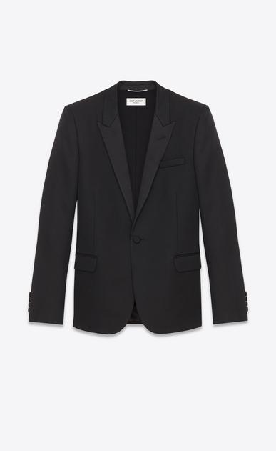 SAINT LAURENT Tuxedo Jacket U Iconic Le Smoking Jacket in Black Grain De Poudre Textured Wool a_V4