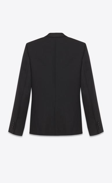 SAINT LAURENT Tuxedo Jacket U Iconic Le Smoking Jacket in Black Grain De Poudre Textured Wool b_V4