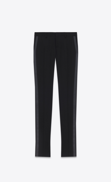 SAINT LAURENT Classic Pant D Iconic Le Smoking Tube Trouser in Black Grain de Poudre Textured Virgin Wool a_V4