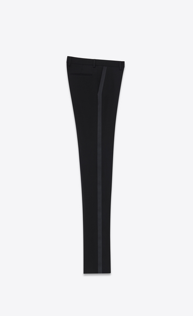 SAINT LAURENT Classic Pant D Iconic Le Smoking Tube Trouser in Black Grain de Poudre Textured Virgin Wool b_V4