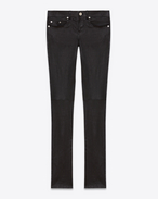 SAINT LAURENT Denim Trousers D Signature Low Waisted Skinny Jeans in Black Leather f