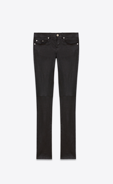 SAINT LAURENT Leather pants D Signature Low Waisted Skinny Jeans in Black Leather a_V4