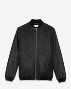SAINT LAURENT Leather jacket U teddy jacket in black crocodile embossed leather f