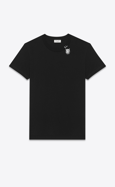 SAINT LAURENT T-Shirt and Jersey U Short Sleeve T-Shirt in Black Tiger Head Printed Cotton Jersey a_V4