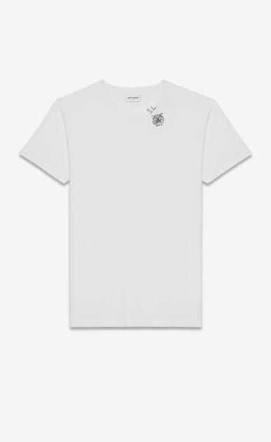 SAINT LAURENT T-Shirt and Jersey U Short Sleeve T-Shirt in Ivory Tiger Head Printed Cotton Jersey a_V4