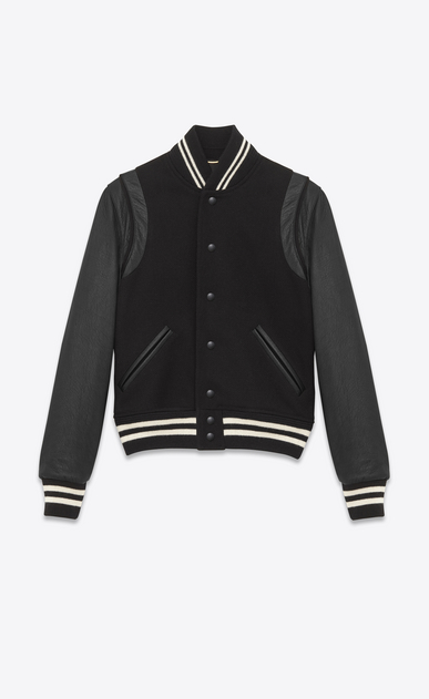 SAINT LAURENT Casual Jackets U classic teddy jacket in black wool, leather and polyamide a_V4