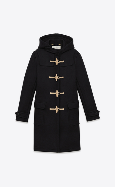 SAINT LAURENT Coats D classic duffle coat in black wool a_V4