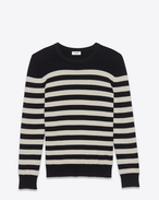 SAINT LAURENT ニット D sweater in black and ivory striped cashmere f