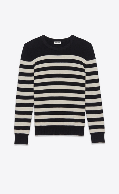 SAINT LAURENT Knitwear Tops D sweater in black and ivory striped cashmere a_V4