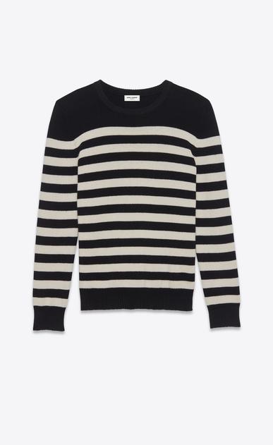 SAINT LAURENT Stricktops D pullover aus schwarzer und elfenbeinfarbener gestreifter kaschmirwolle. a_V4