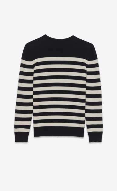 SAINT LAURENT Stricktops D pullover aus schwarzer und elfenbeinfarbener gestreifter kaschmirwolle. b_V4