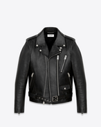 SAINT LAURENT Leather jacket D signature motorcycle jacket in black washed leather f