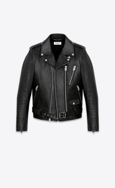 SAINT LAURENT Leather jacket Woman signature motorcycle jacket in black washed leather a_V4