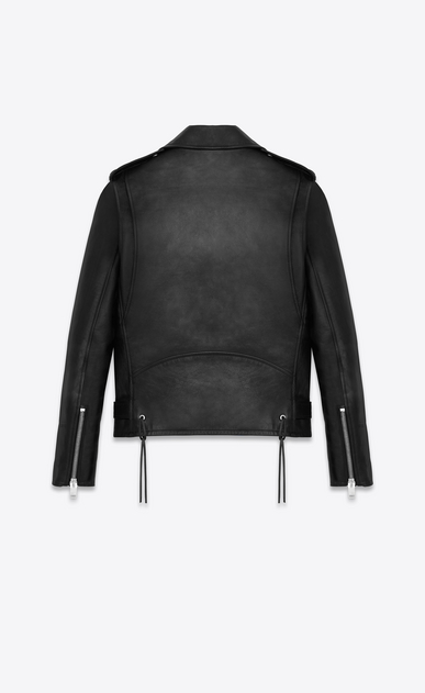 SAINT LAURENT Leather jacket Woman signature motorcycle jacket in black washed leather b_V4
