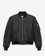 SAINT LAURENT Giacche Casual U classic bomber jacket in black nylon f