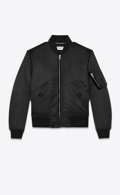 SAINT LAURENT Casual Jackets U classic bomber jacket in black nylon a_V4