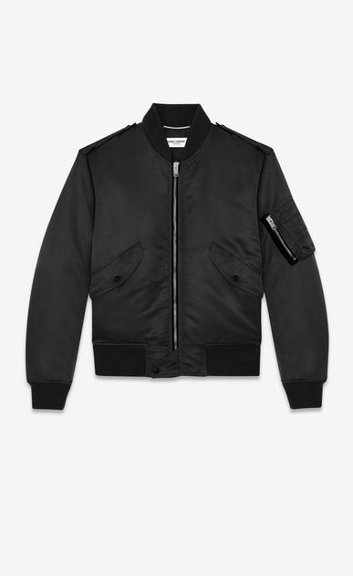SAINT LAURENT Casual Jackets U classic bomber jacket in black nylon v4