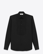 SAINT LAURENT Tuxedo Shirts U pique plastron yves collar shirt in white cotton poplin f