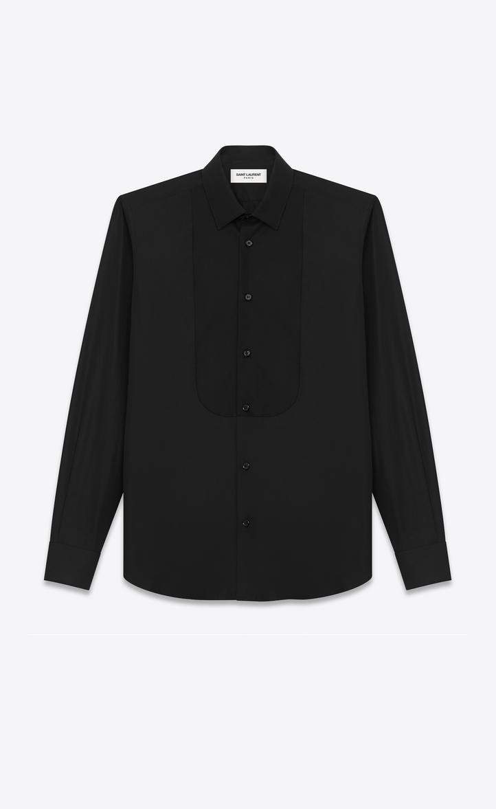 chemise à col yves et plastron en piqué en popeline de coton blanche, Vue de 435e8c2c440