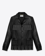 SAINT LAURENT Leather jacket U classic curtis fringe jacket in black leather f