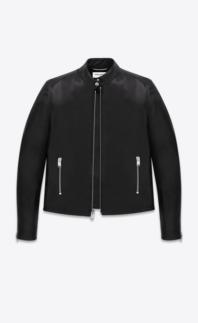 SAINT LAURENT Leather jacket Man racing jacket in black leather a_V4