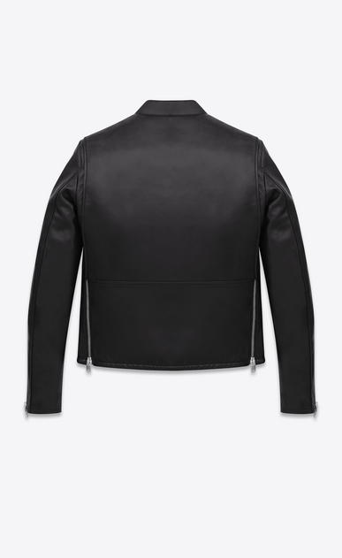 SAINT LAURENT Leather jacket Man racing jacket in black leather b_V4