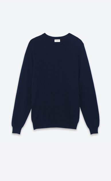 SAINT LAURENT Cashmere Tops U classic saint laurent crew neck sweater in navy blue cashmere a_V4