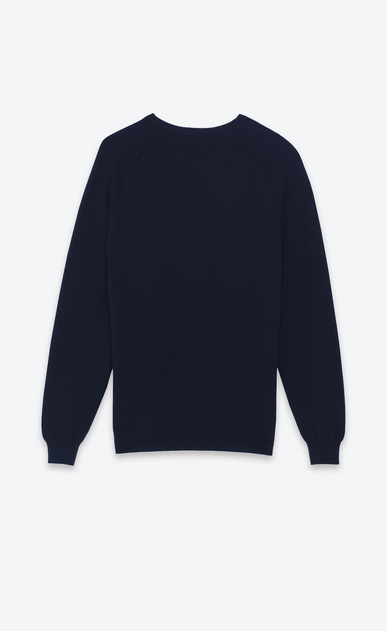 SAINT LAURENT Cashmere Tops U classic saint laurent crew neck sweater in navy blue cashmere b_V4
