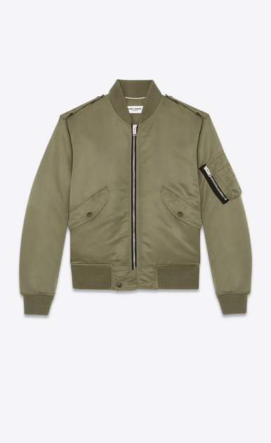 SAINT LAURENT Casual Jackets U classic bomber jacket in khaki nylon a_V4