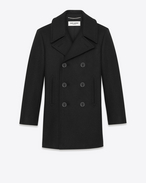 SAINT LAURENT Coats U classic caban marin in black wool f