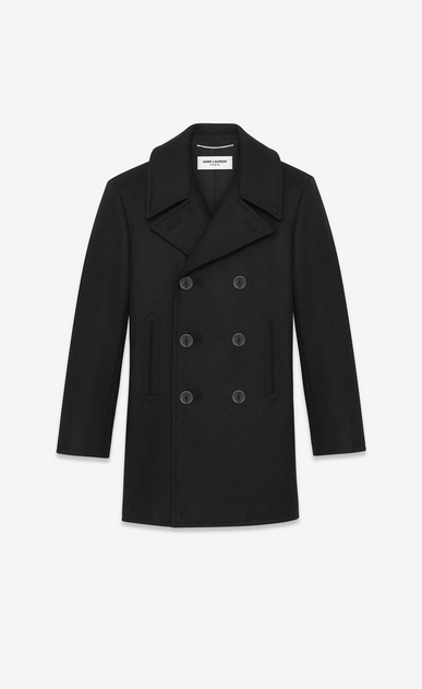 SAINT LAURENT Coats U classic caban marin in black wool a_V4